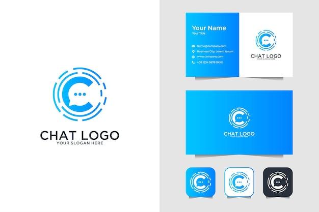 Bubble chat mit buchstabe c logo design und visitenkarte Premium Vektoren