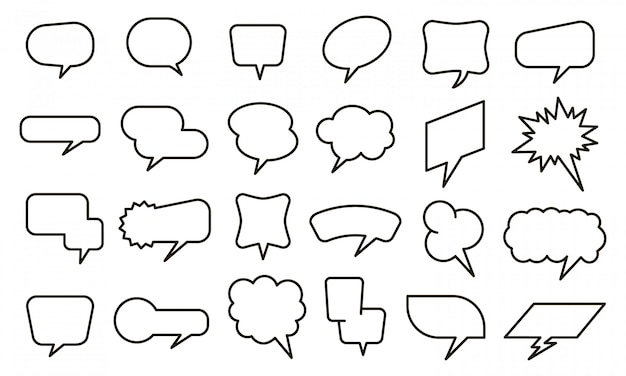 Bubble sprachaufkleber. leere gedankenballons und textblasenaufkleber, skizzieren konversationselemente gesetzt. chat- und comic-symbole auf weißem hintergrund. dialogwolken Premium Vektoren