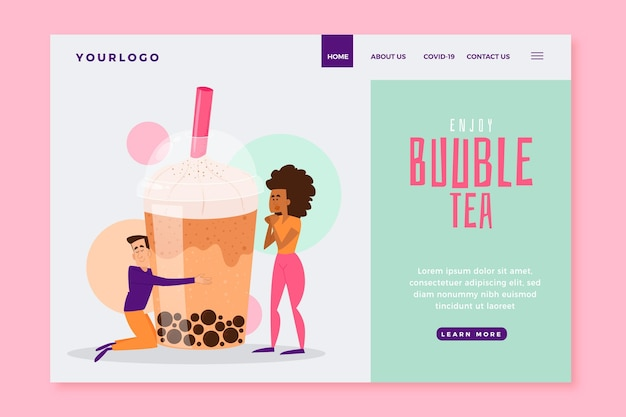 Bubble tea landing page vorlage Kostenlosen Vektoren