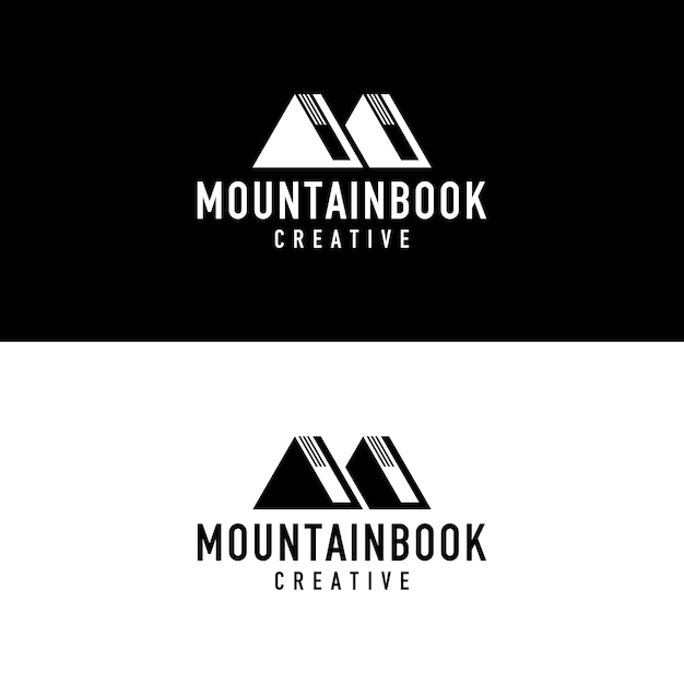 Buch berg logo Premium Vektoren