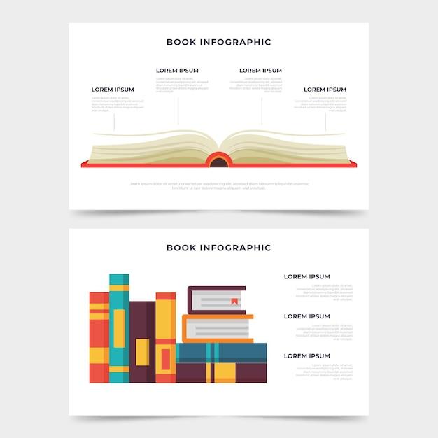 Buch infografiken flaches design Kostenlosen Vektoren
