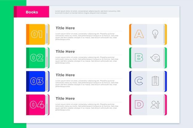 Buch infografiken vorlage Kostenlosen Vektoren