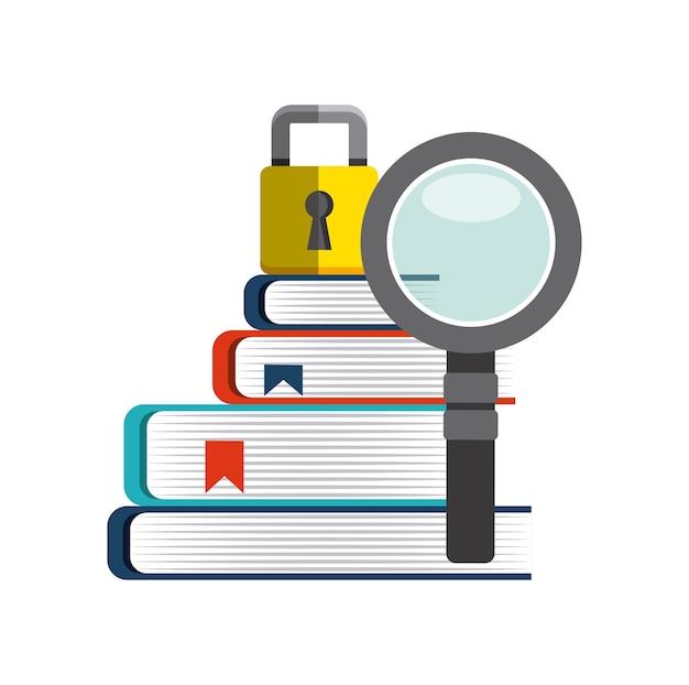 Buch, lupe und vorhängeschloss-symbol. urheberrecht design. vektorgrafik Premium Vektoren