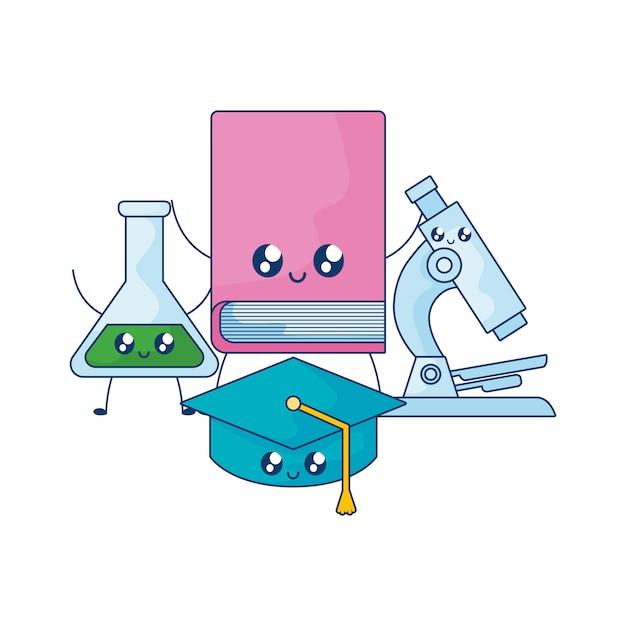 Buch mit hut abschluss und mikroskop kawaii-stil Premium Vektoren