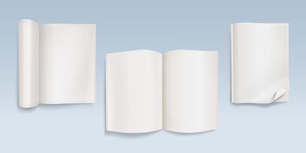 Buch mit leeren seitenillustration des notizbuches mit blättern des leeren papiers und gebogenen ecken. Kostenlosen Vektoren