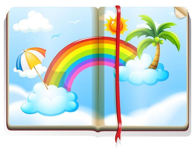 Buch mit regenbogen am himmel Premium Vektoren