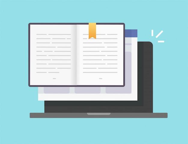 Buch oder notizblock digitaler elektronischer vektor öffnen online-seiten mit textsymbol Premium Vektoren