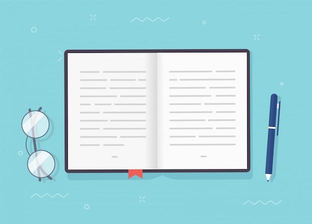 Buch oder notizblock vektor offene seiten mit text, notizbuch oder lehrbuch papier mit lesezeichen und stift Premium Vektoren