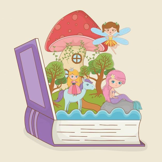 Buch offen mit märchenhafter meerjungfrau mit prinzessin im einhorn Kostenlosen Vektoren