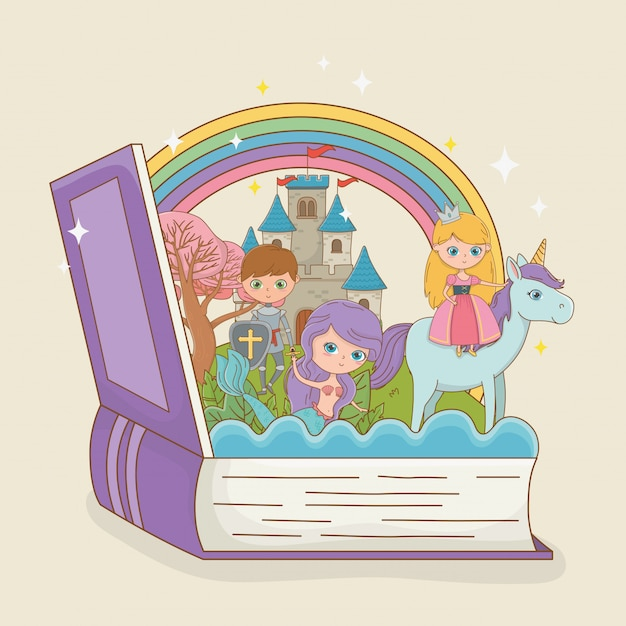 Buch offen mit märchenhafter meerjungfrau mit prinzessin in einhorn und krieger Kostenlosen Vektoren