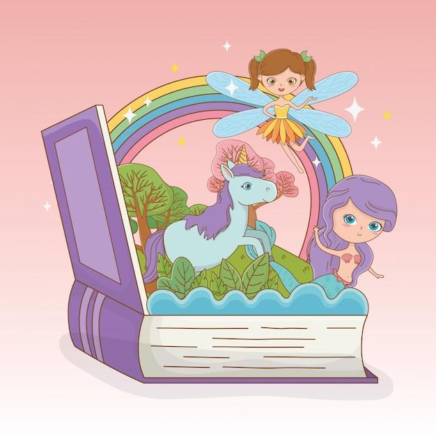 Buch offen mit märchenmeerjungfrau und fee mit einhorn Kostenlosen Vektoren