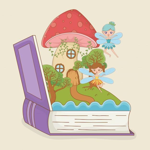 Buch offen mit märchenszenenpilz mit feen Kostenlosen Vektoren