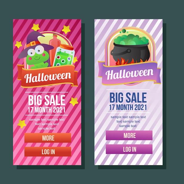 Buch-trankhexe der halloween-fahne vertikale Premium Vektoren