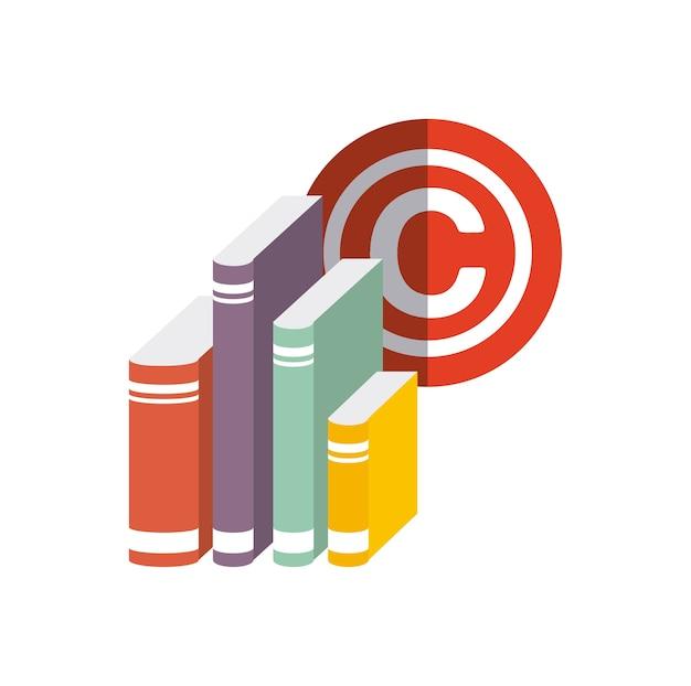 Buch und c-symbol. urheberrecht design. vektorgrafik Premium Vektoren