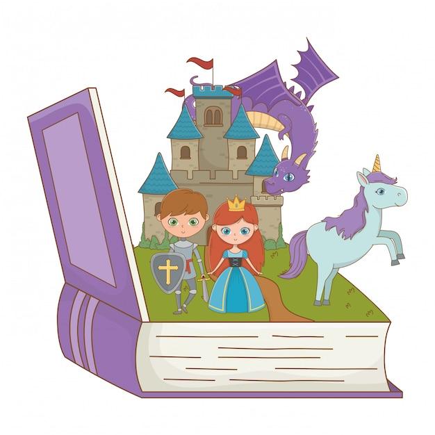 Buch und charakter von märchen entwerfen vektorillustration Premium Vektoren