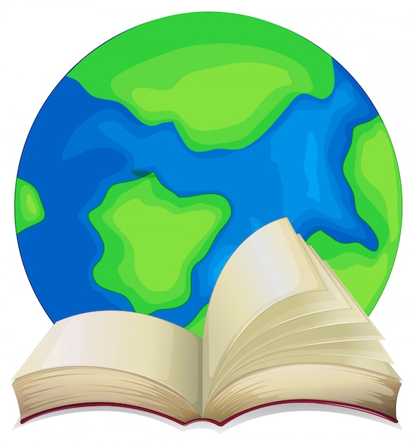 Buch und die welt auf weißem hintergrund Kostenlosen Vektoren