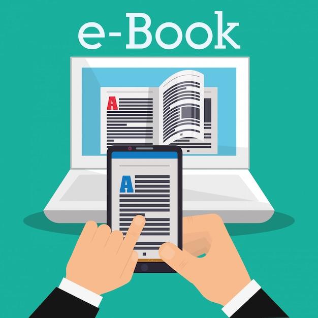 Buch- und e-learning-ikonendesign Premium Vektoren