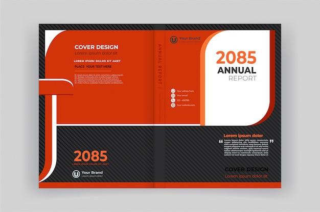 Buch vorder- und rückseite für geschäftsbericht mit geometrischen formen design Premium Vektoren