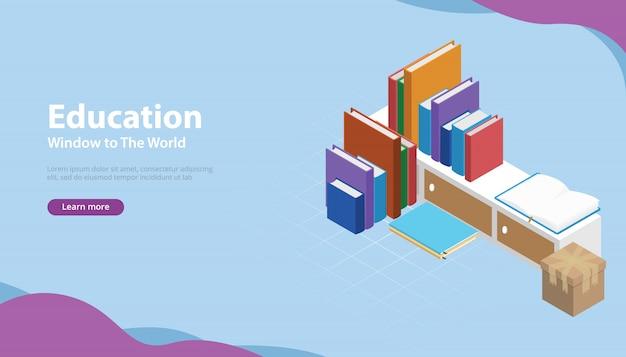 Buchen sie bildungsstil-banner mit isometrischen modellen Premium Vektoren