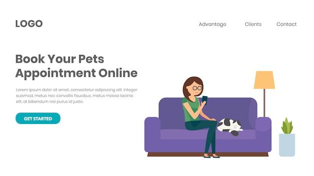 Buchen sie eine tierärztliche beratung online Premium Vektoren