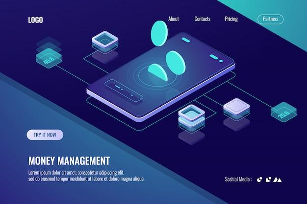 Buchhaltung geld, isometrische online-bank, horizontale banner der mobilen anwendung für kryptowährung Kostenlosen Vektoren