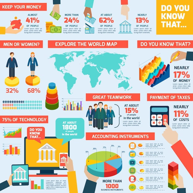 Buchhaltung-infografik-set Kostenlosen Vektoren