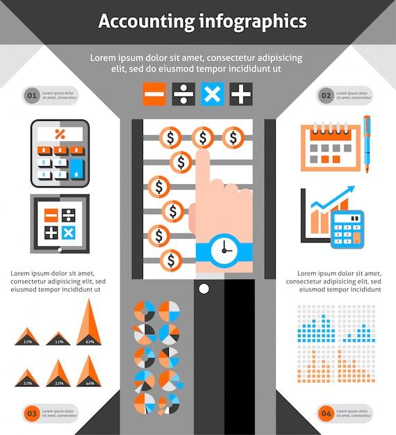 Buchhaltung infografiken festgelegt Kostenlosen Vektoren