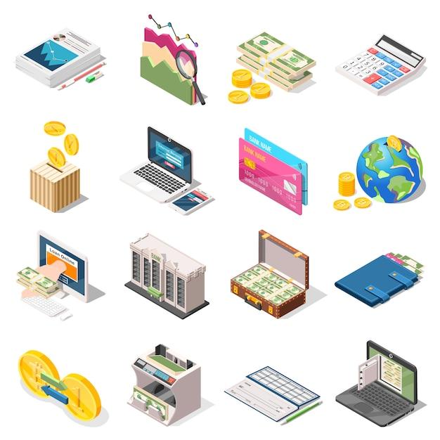 Buchhaltung isometrische icons set Kostenlosen Vektoren