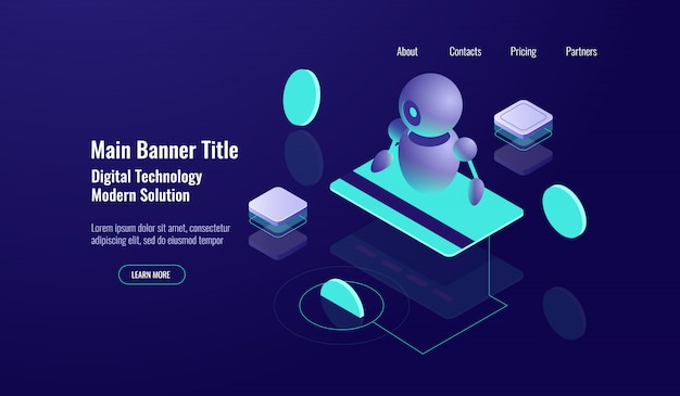 Buchhaltung isometrische ikone, ai künstliche intelligenz, geldkontrolle Kostenlosen Vektoren