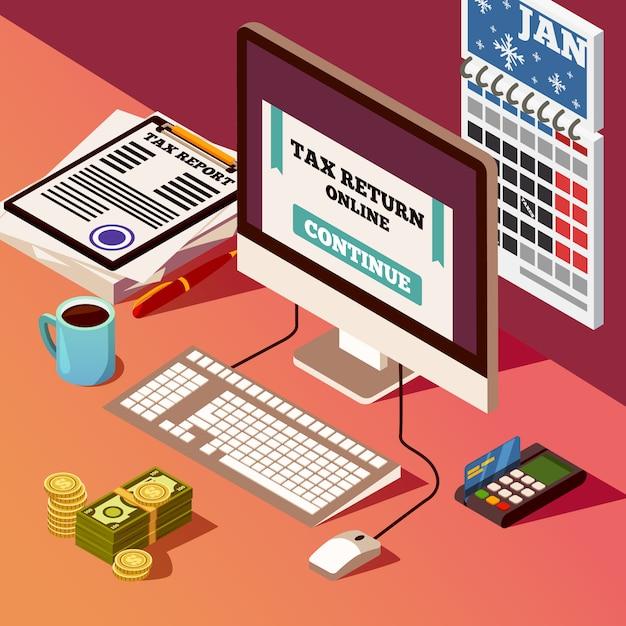Buchhaltung und steuern isometrische zusammensetzung Kostenlosen Vektoren