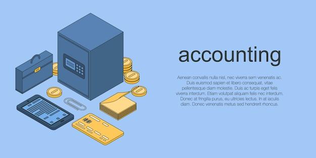 Buchhaltungskonzeptfahne, isometrische art Premium Vektoren