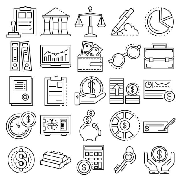 Buchhaltungstag-icon-set. umrisssatz buchhaltungstagvektorikonen Premium Vektoren