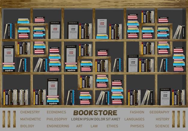 Buchhandlung innenarchitektur Premium Vektoren