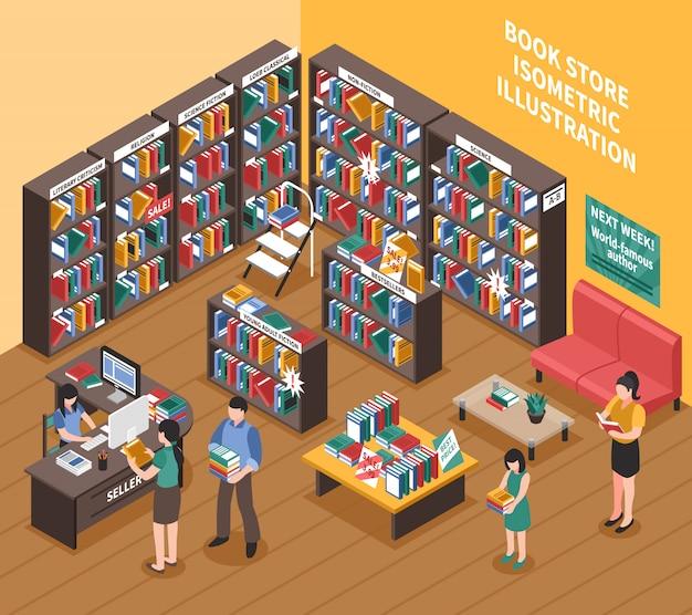 Buchhandlung isometrische illustration Kostenlosen Vektoren