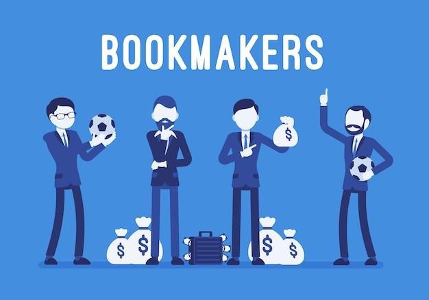 Buchmacher männer mit geld Premium Vektoren