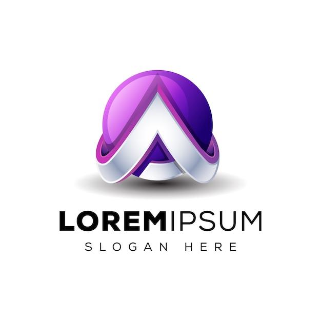 Buchstabe a 3d mit globus-logo Premium Vektoren