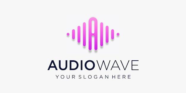 Buchstabe a mit puls. audio-wellenelement. logo-vorlage elektronische musik, equalizer, laden, dj-musik, nachtclub, disco. audio-wellen-logo-konzept, thematische multimediatechnologie, abstrakte form. Premium Vektoren