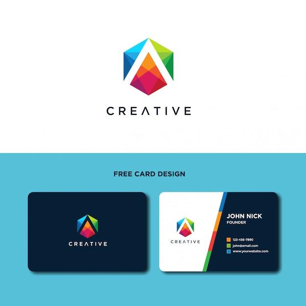 Buchstabe a mit sechseckiger logo design-vorlage Premium Vektoren
