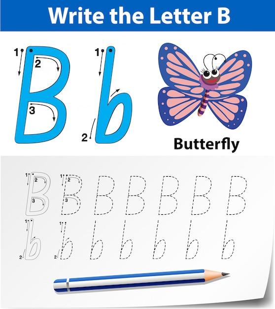 Buchstabe b bei der suche nach alphabet-arbeitsblättern Premium Vektoren