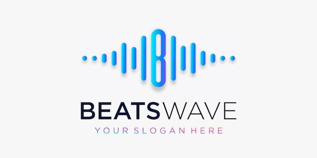 Buchstabe b mit puls. schlägt wellenelement. logo-vorlage elektronische musik, equalizer, laden, dj-musik, nachtclub, disco. audio-wellen-logo-konzept, thematische multimediatechnologie, abstrakte form. Premium Vektoren