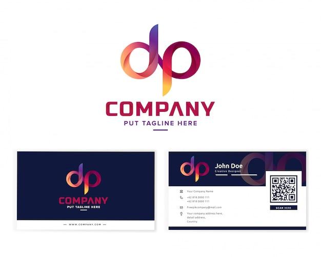 Buchstabe buchstabe d und p logo Premium Vektoren