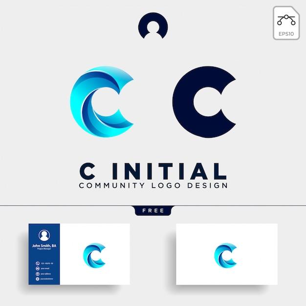 Buchstabe c gemeinschaft menschliche logo vorlage Premium Vektoren