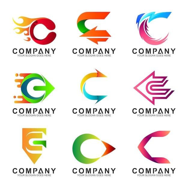 Buchstabe c logo gesetzt Premium Vektoren