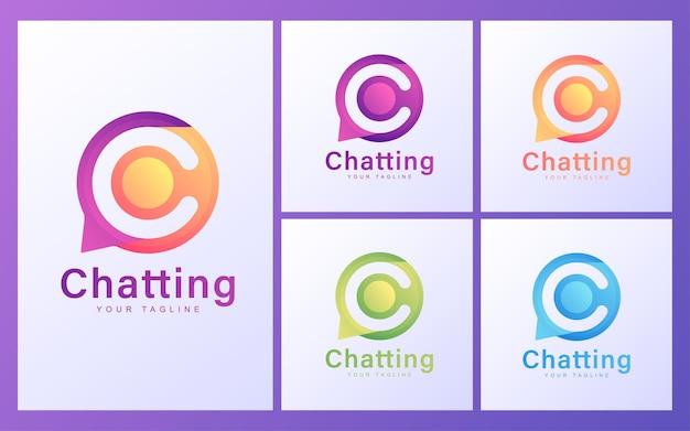 Buchstabe c logo in chatblasen. modernes chat-logo-konzept Premium Vektoren
