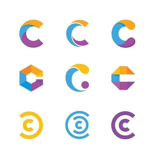 Buchstabe c-logo-sammlung Premium Vektoren