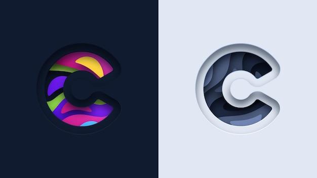 Buchstabe c typografie logo design Premium Vektoren