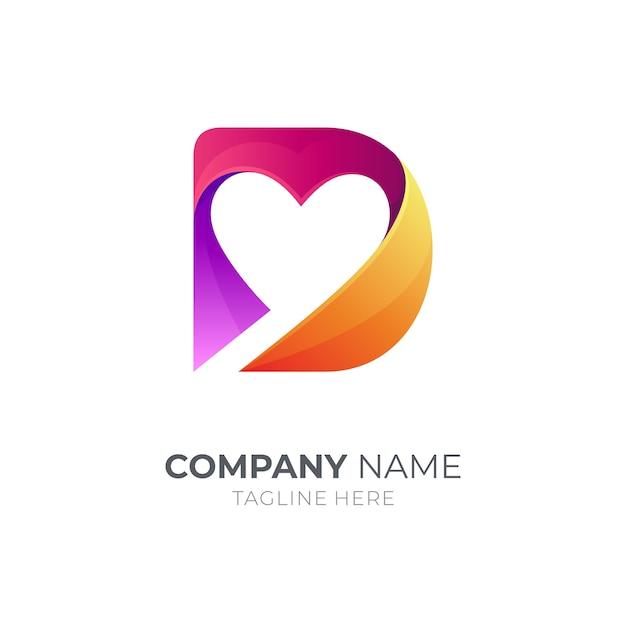 Buchstabe d logo mit herzform Premium Vektoren