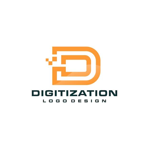 Buchstabe d pixel technologie logo vorlage Premium Vektoren