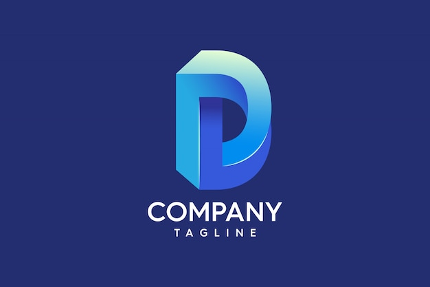 Buchstabe d professional abstract 3d-logo Premium Vektoren
