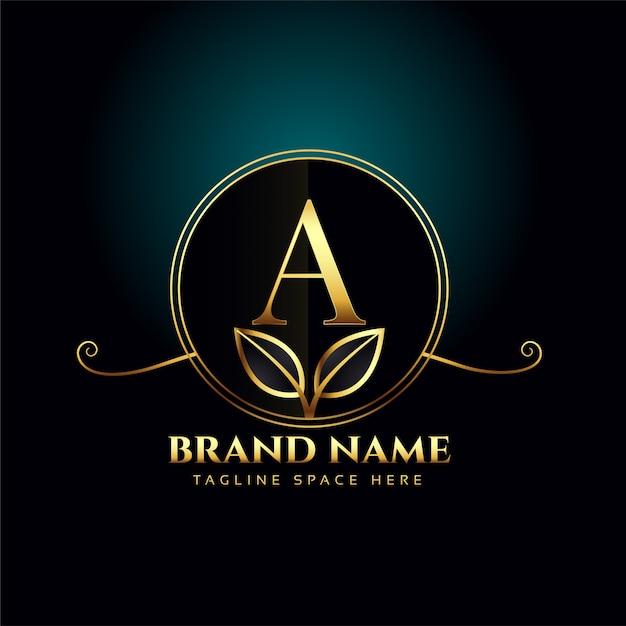 Buchstabe ein luxus-logo-konzept mit goldenen blättern Kostenlosen Vektoren